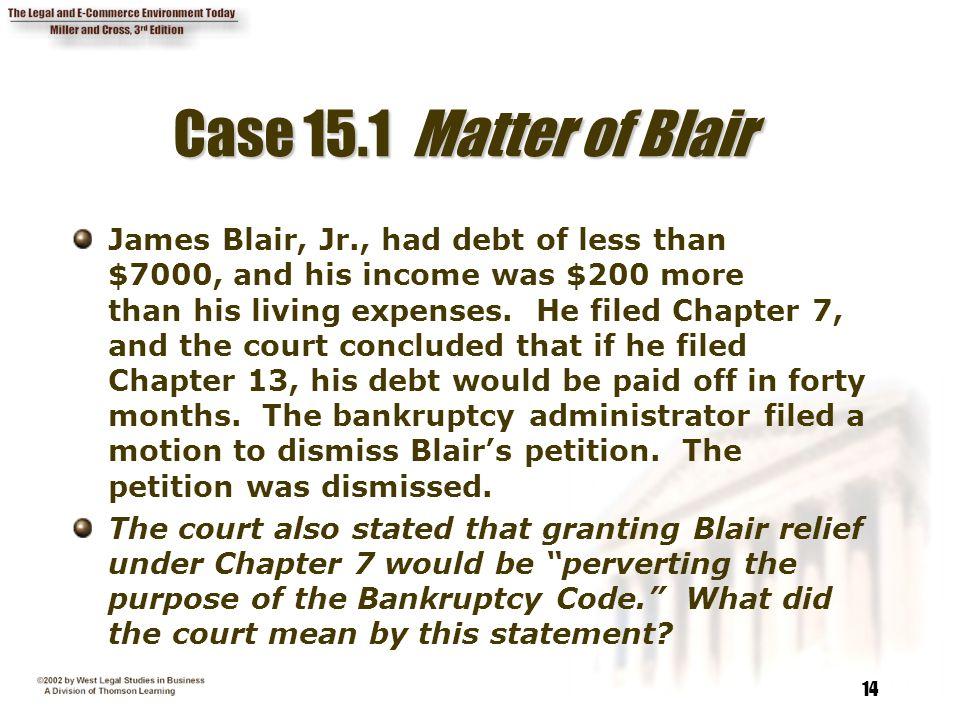 Case 15.1 Matter of Blair