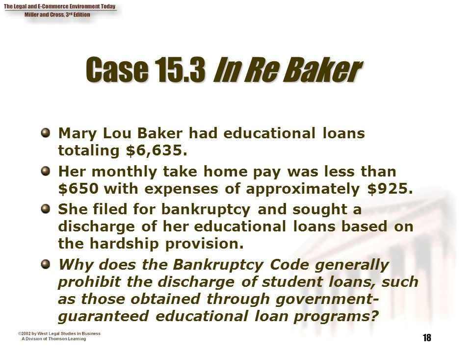 Case 15.3 In Re Baker Mary Lou Baker had educational loans totaling $6,635.