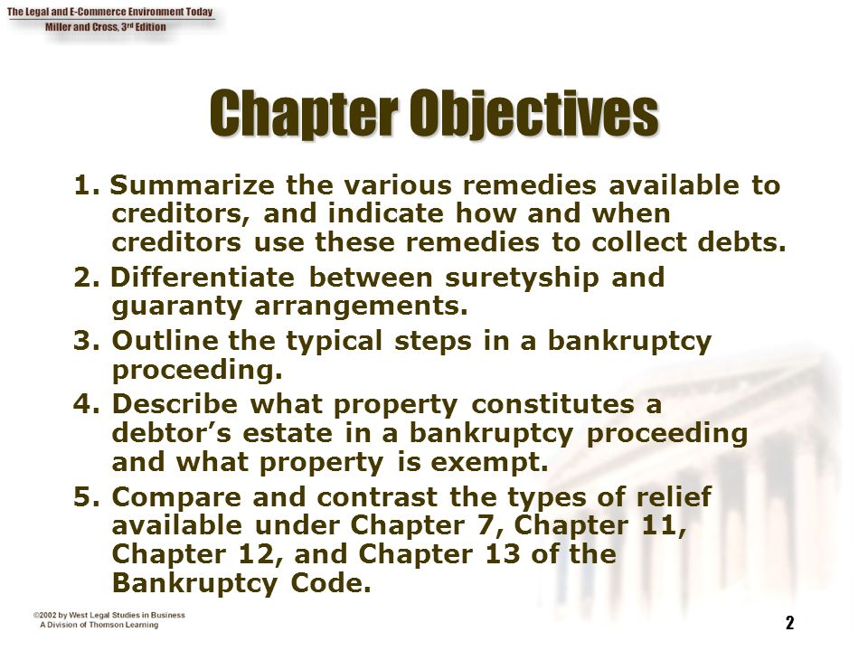 Chapter Objectives 1. Summarize the various remedies available to creditors, and indicate how and when creditors use these remedies to collect debts.