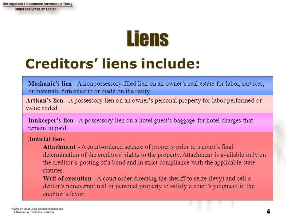 Liens Creditors' liens include: