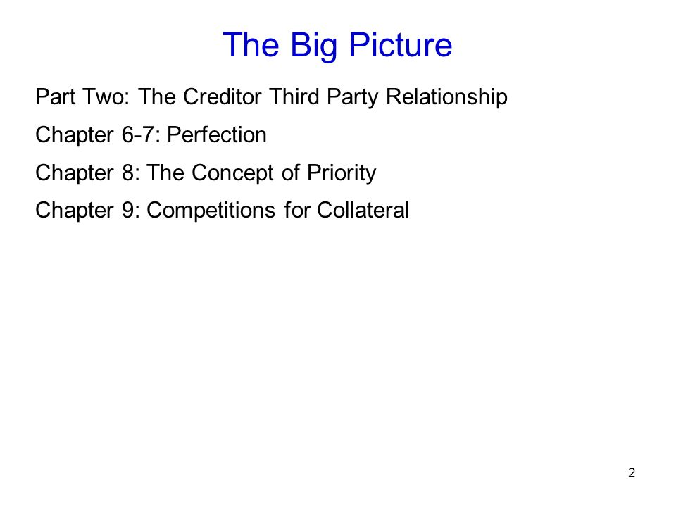 The Big Picture Part Two: The Creditor Third Party Relationship
