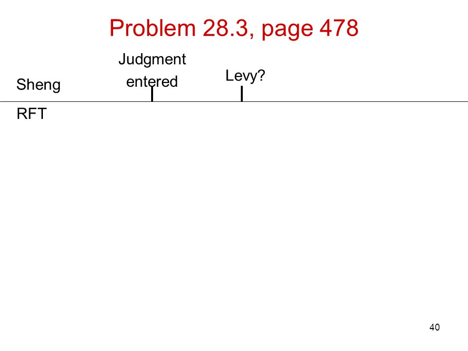 Problem 28.3, page 478 Judgment entered Levy Sheng RFT