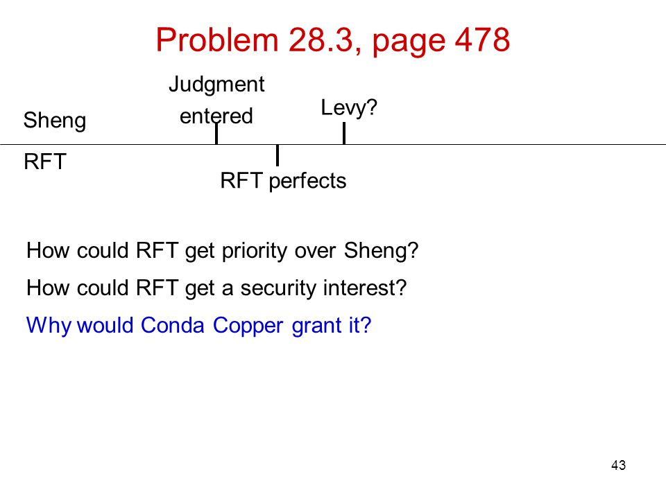Problem 28.3, page 478 Judgment entered Levy Sheng RFT RFT perfects