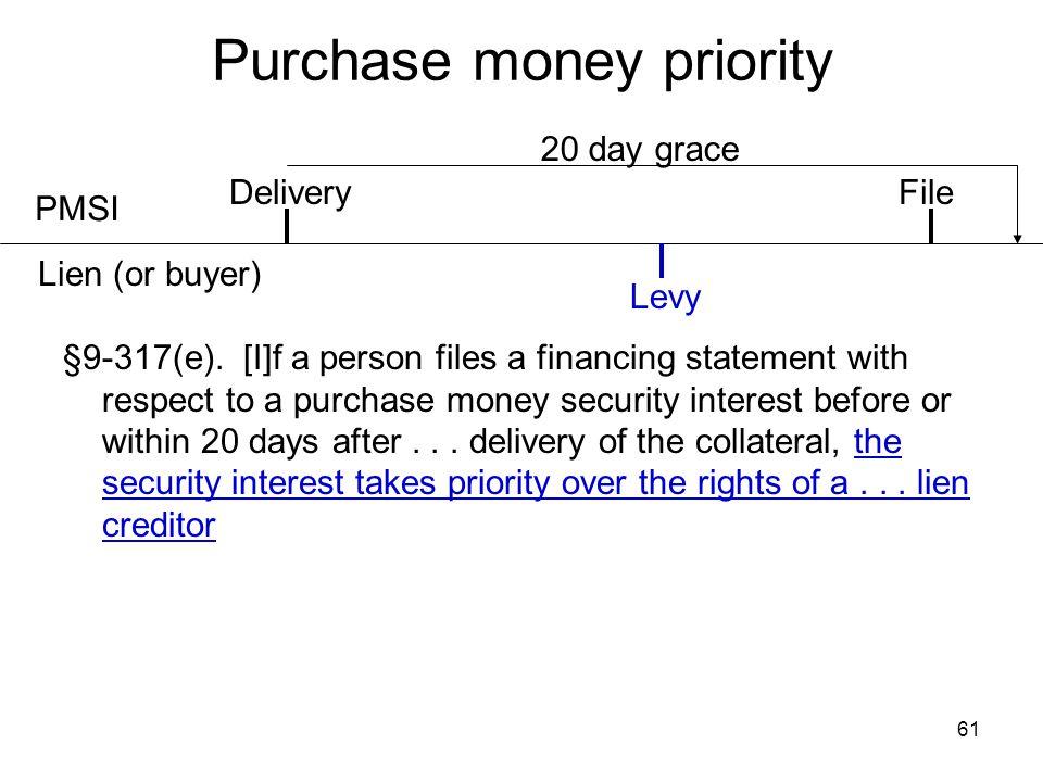 Purchase money priority