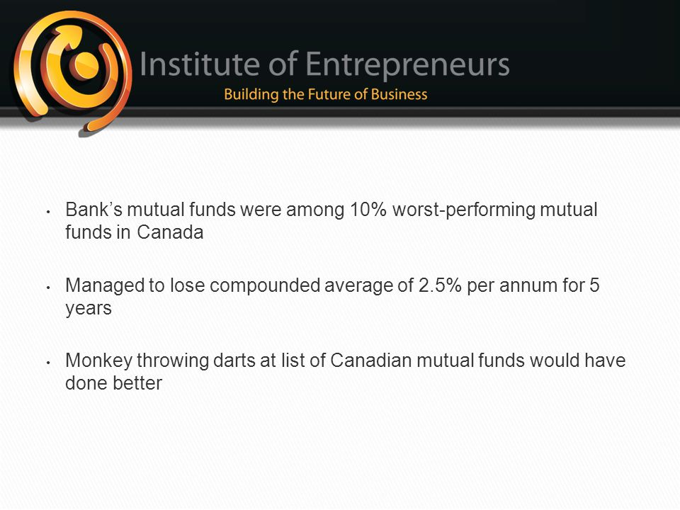 Bank's mutual funds were among 10% worst-performing mutual funds in Canada