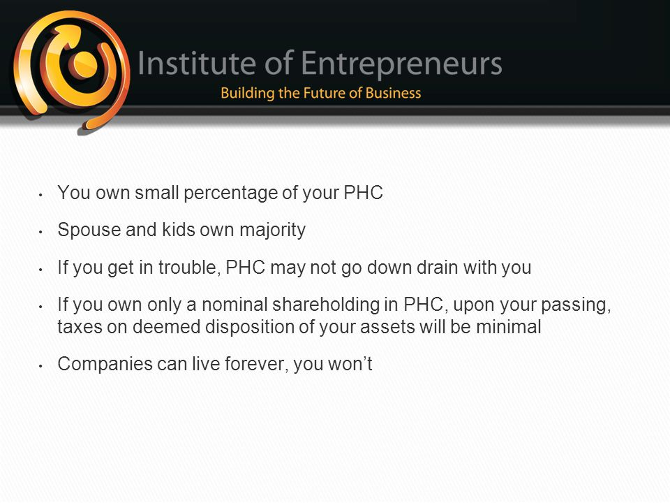 You own small percentage of your PHC