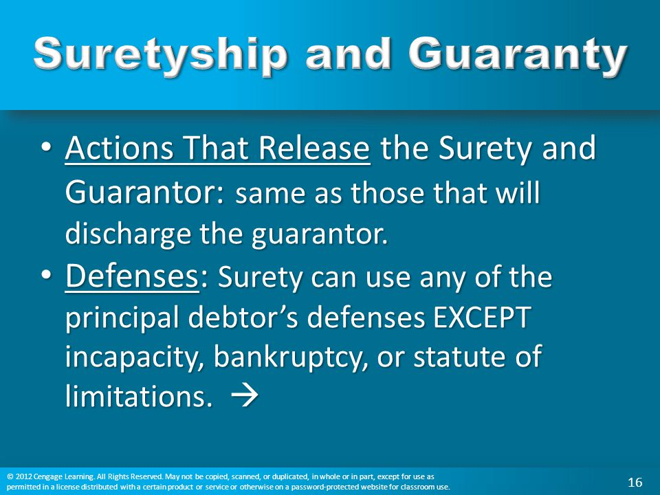 Suretyship and Guaranty