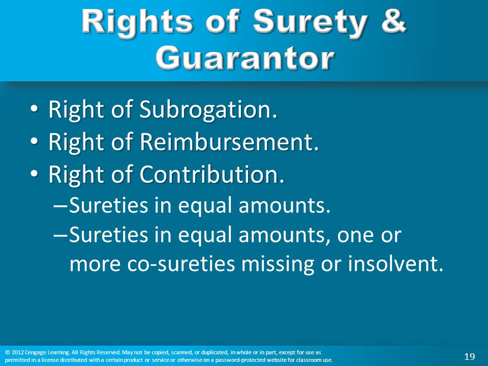 Rights of Surety & Guarantor