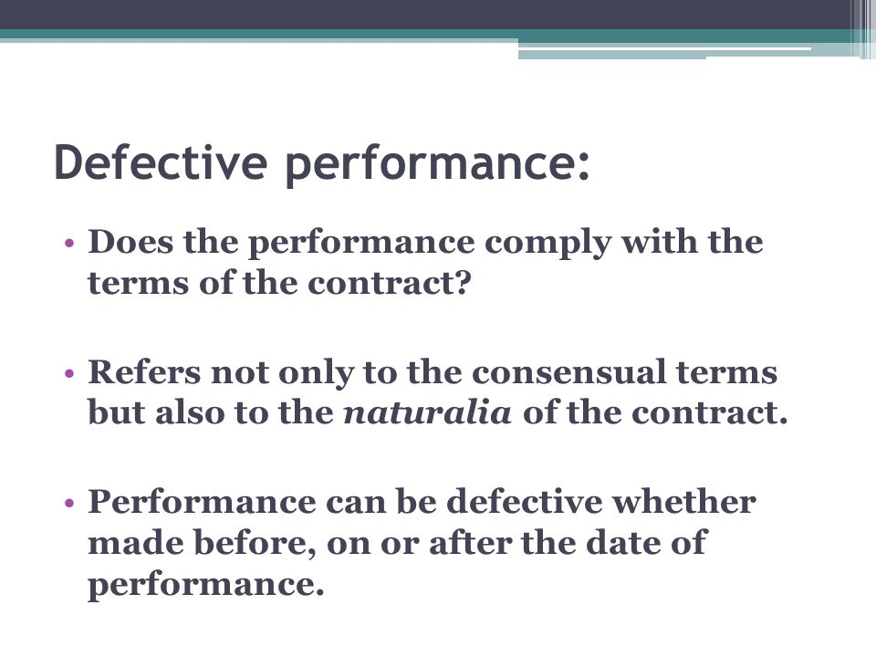Defective performance:
