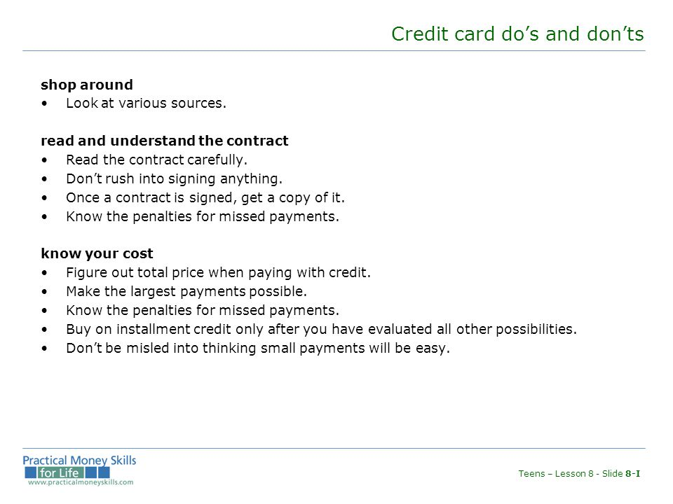 Credit card do's and don'ts