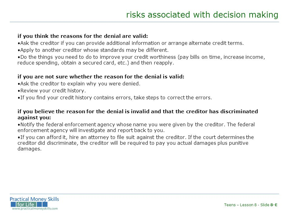 risks associated with decision making