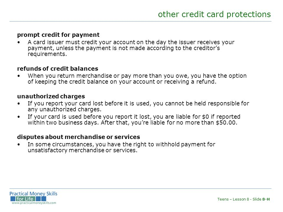 other credit card protections