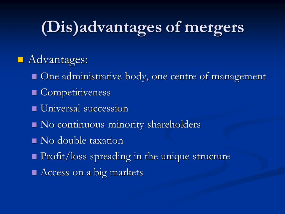 (Dis)advantages of mergers