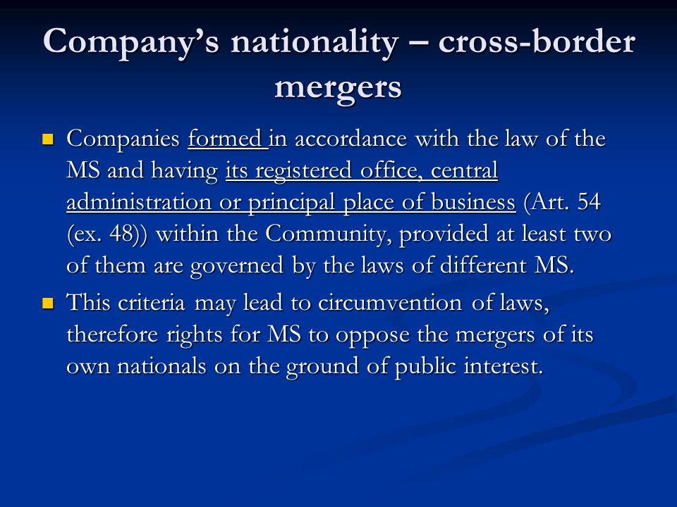 Company's nationality – cross-border mergers