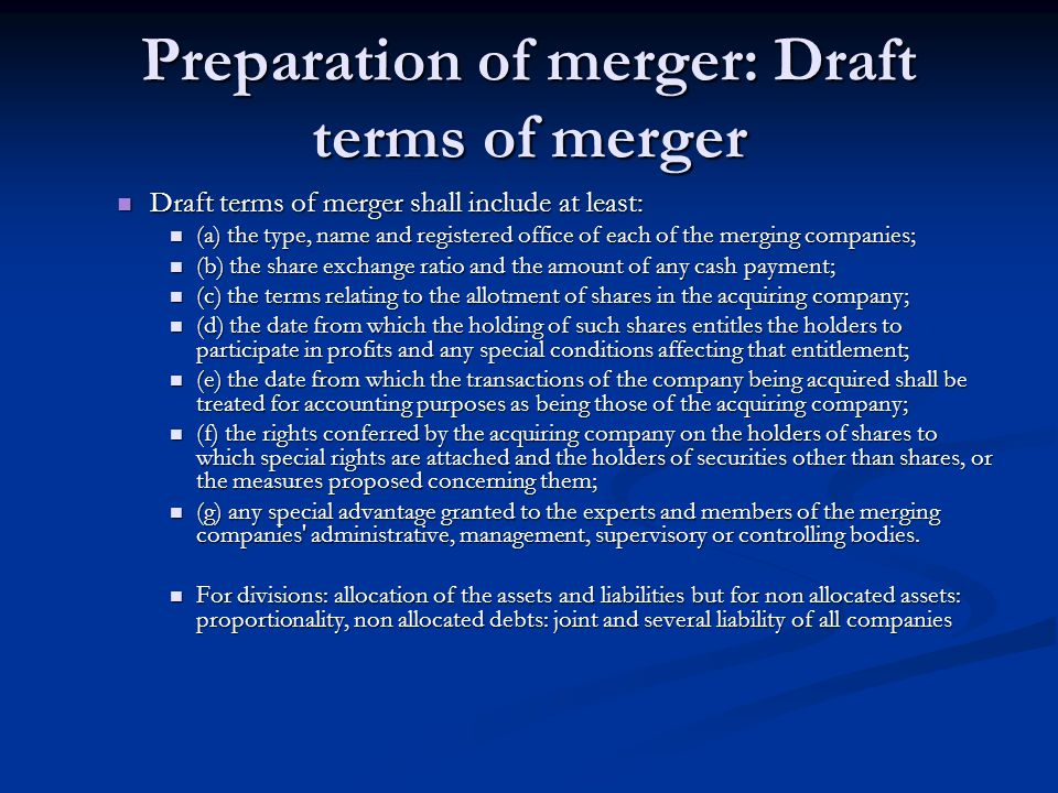 Preparation of merger: Draft terms of merger
