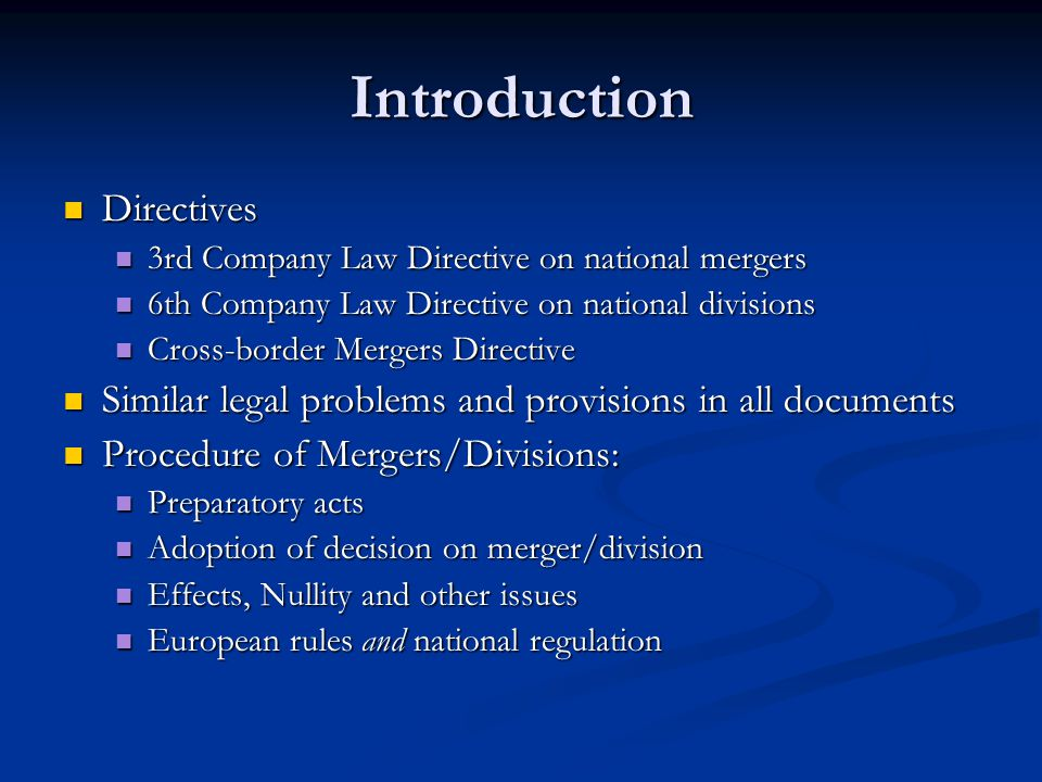 Introduction Directives