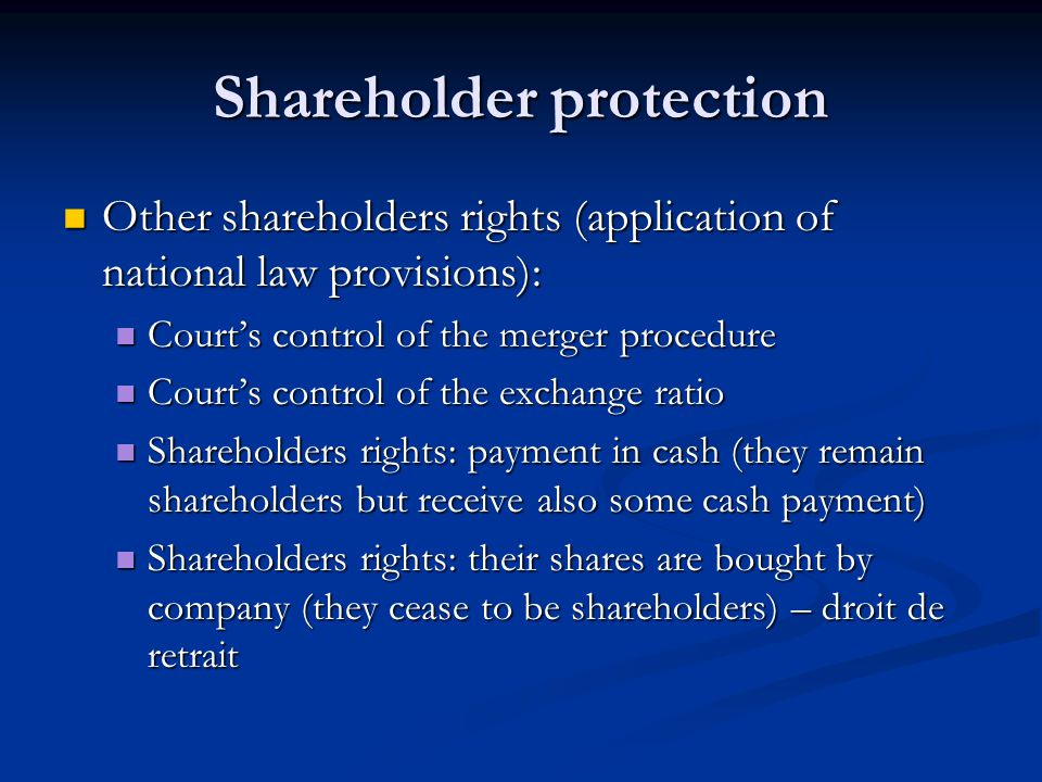 Shareholder protection