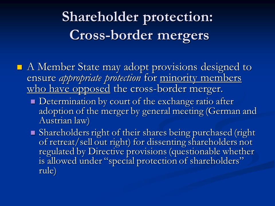 Shareholder protection: Cross-border mergers