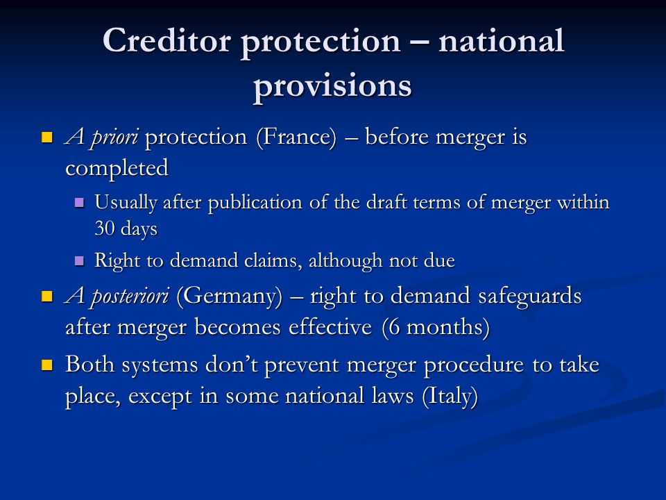 Creditor protection – national provisions