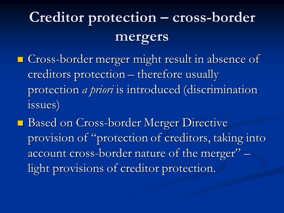 Creditor protection – cross-border mergers