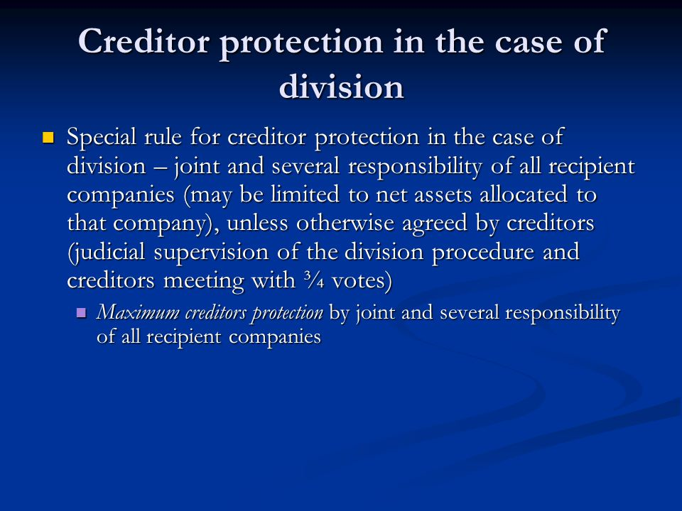 Creditor protection in the case of division
