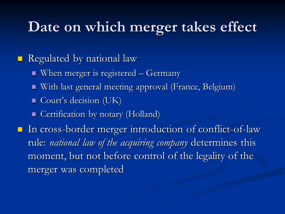 Date on which merger takes effect