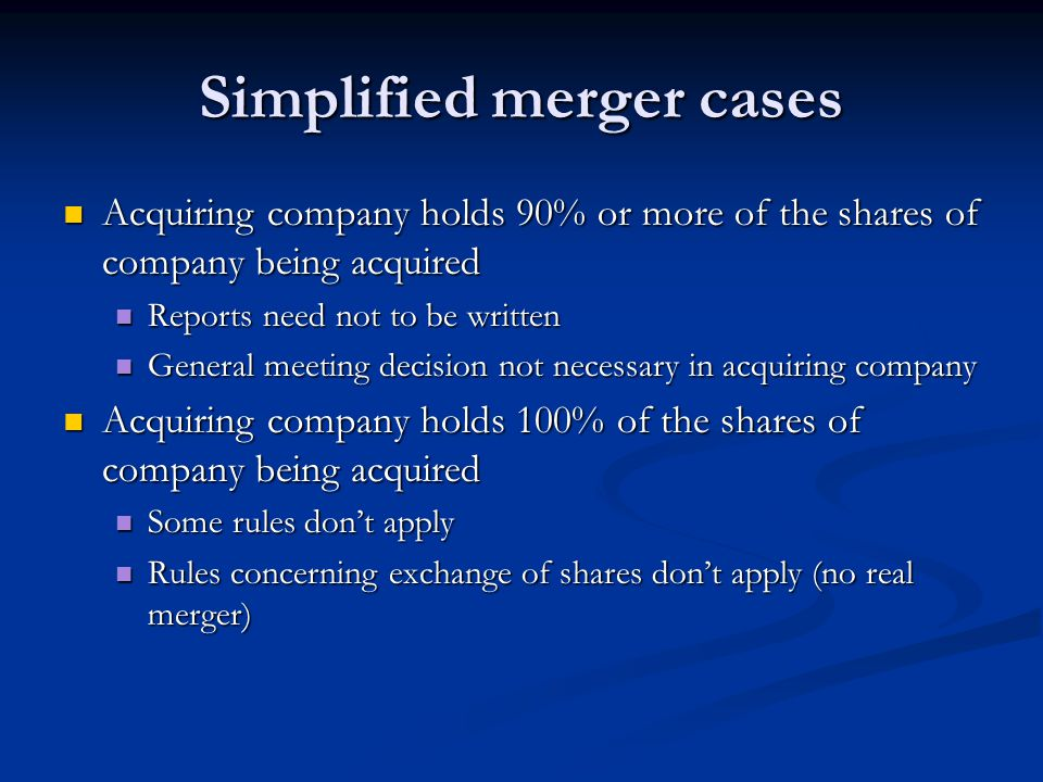 Simplified merger cases