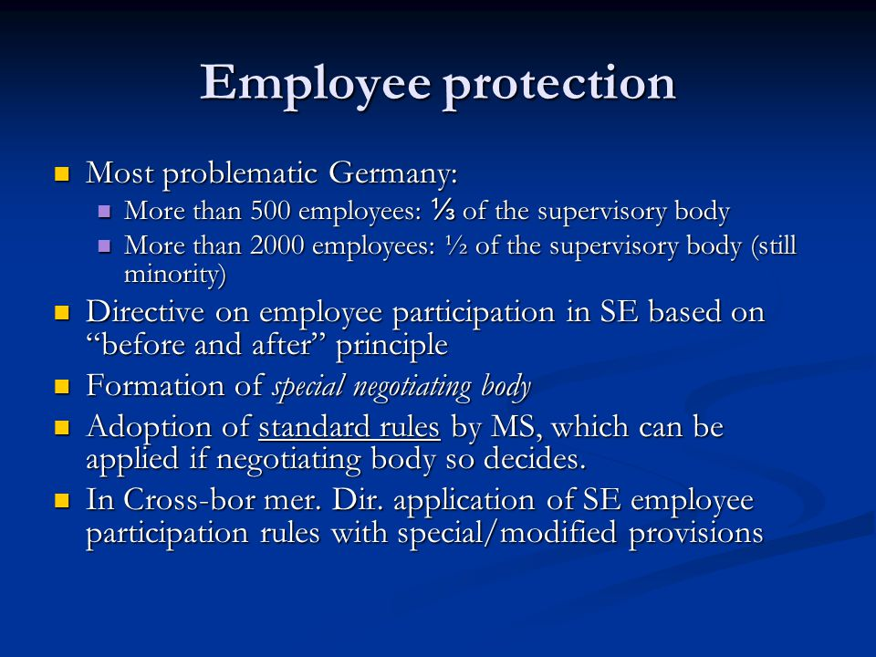 Employee protection Most problematic Germany: