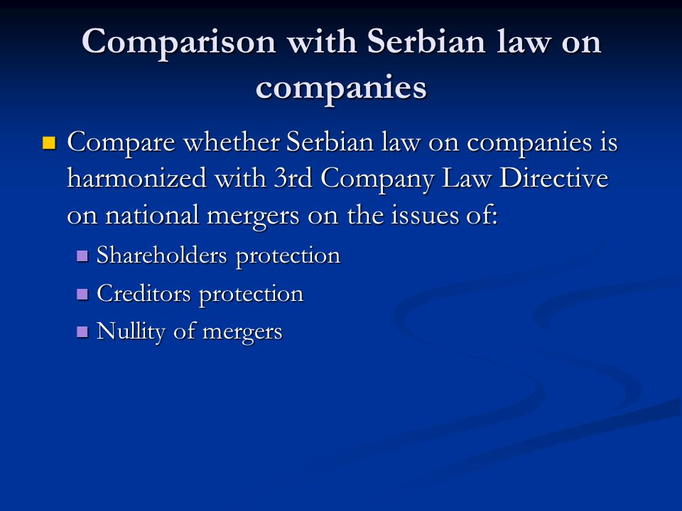 Comparison with Serbian law on companies