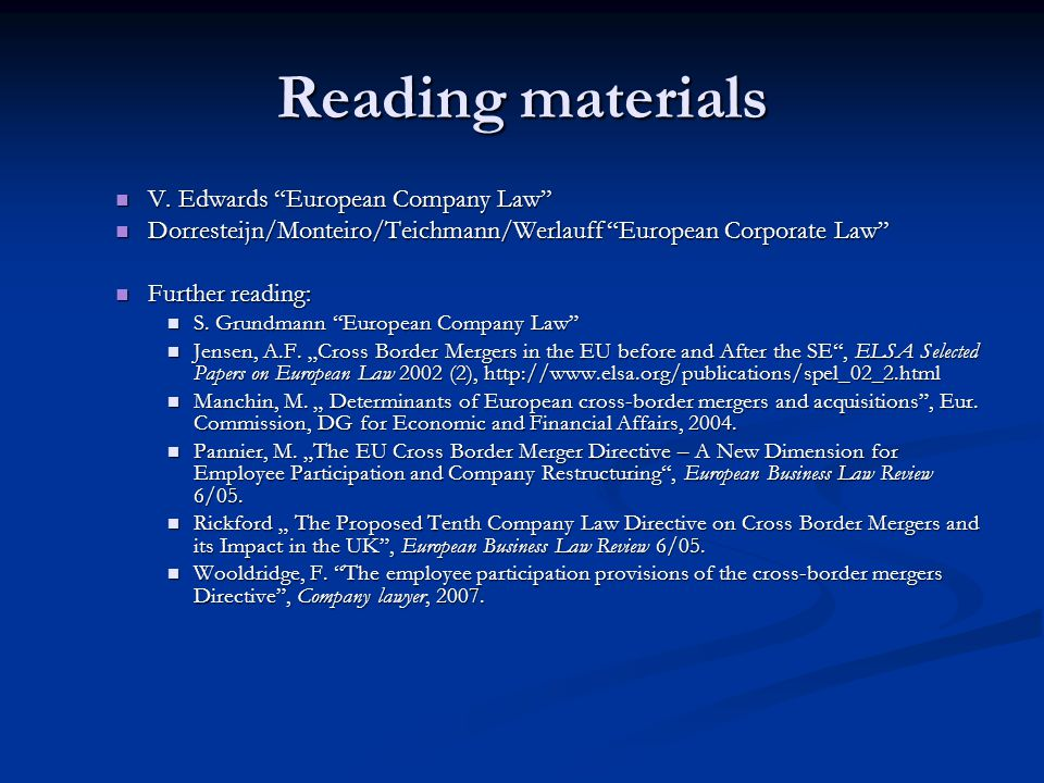 Reading materials V. Edwards European Company Law