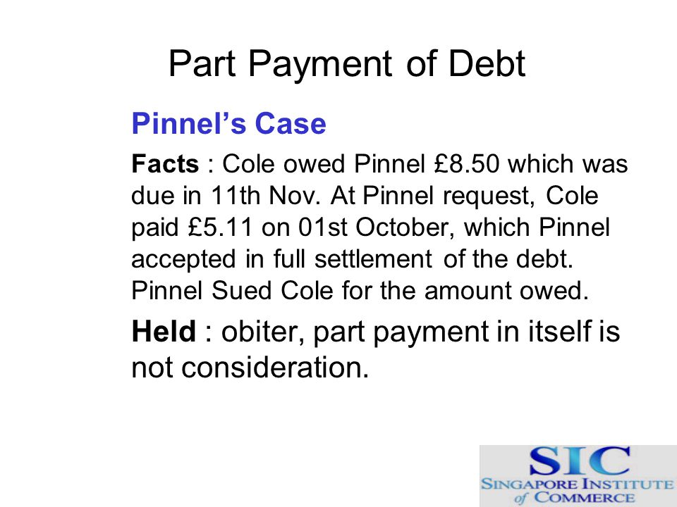 Part Payment of Debt Pinnel's Case