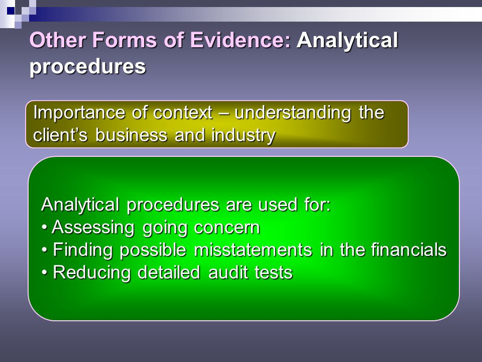 Other Forms of Evidence: Analytical procedures