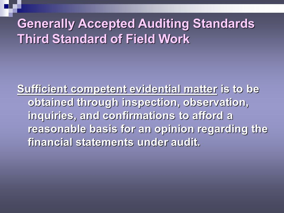 Generally Accepted Auditing Standards Third Standard of Field Work