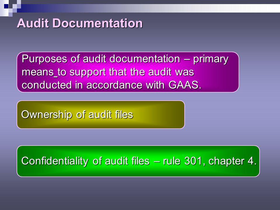 Audit Documentation Purposes of audit documentation – primary