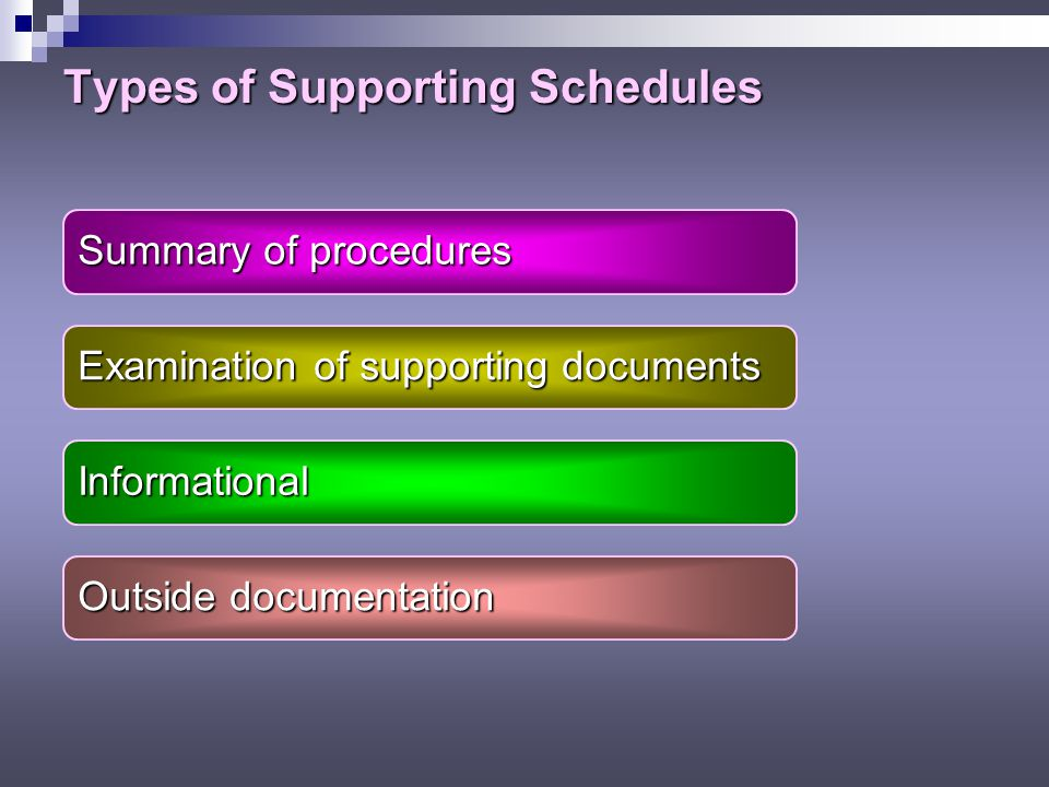 Types of Supporting Schedules