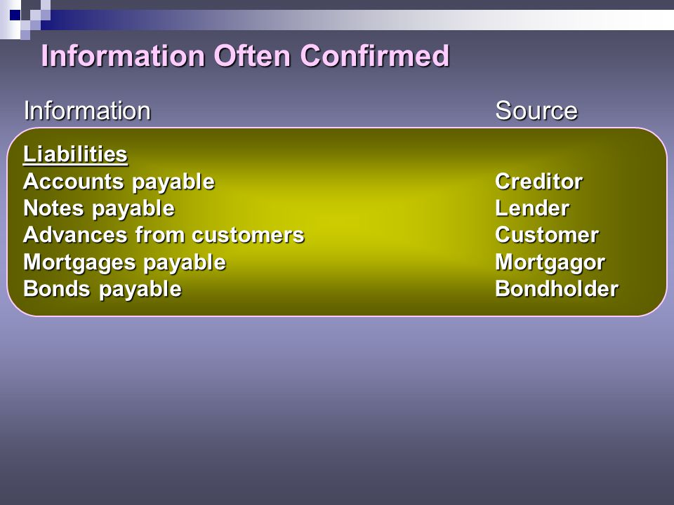 Information Often Confirmed