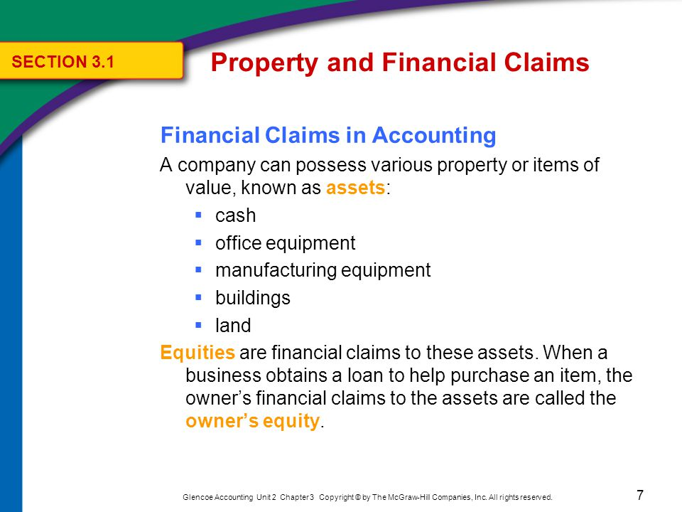 Property and Financial Claims