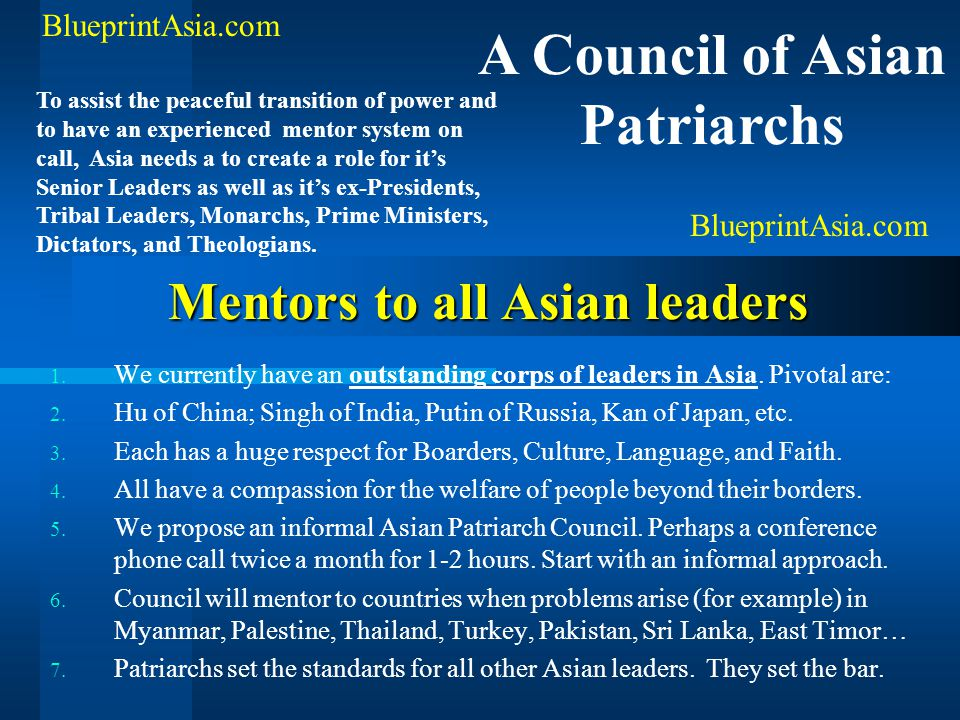 Mentors to all Asian leaders