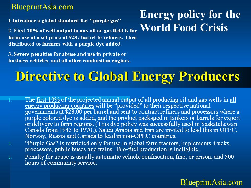Directive to Global Energy Producers