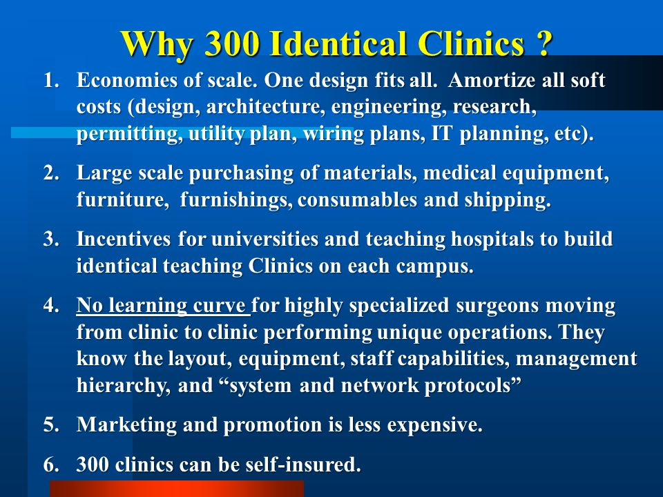 Why 300 Identical Clinics