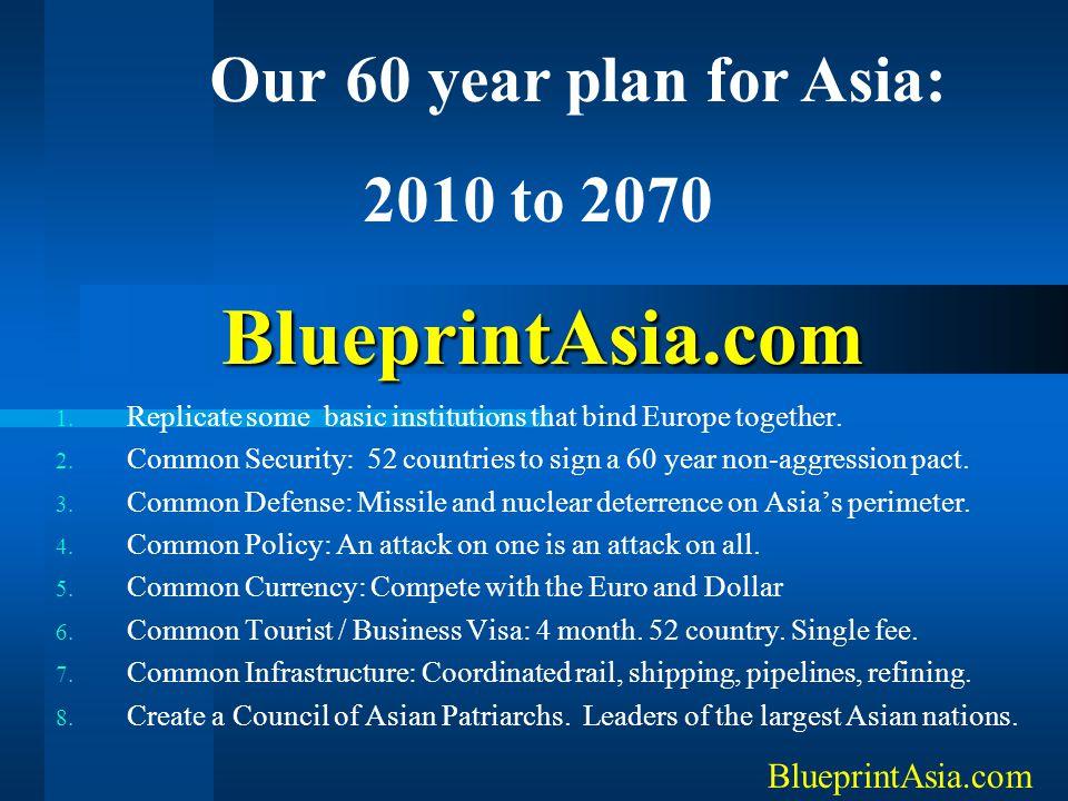 Our 60 year plan for Asia: BlueprintAsia.com 2010 to 2070