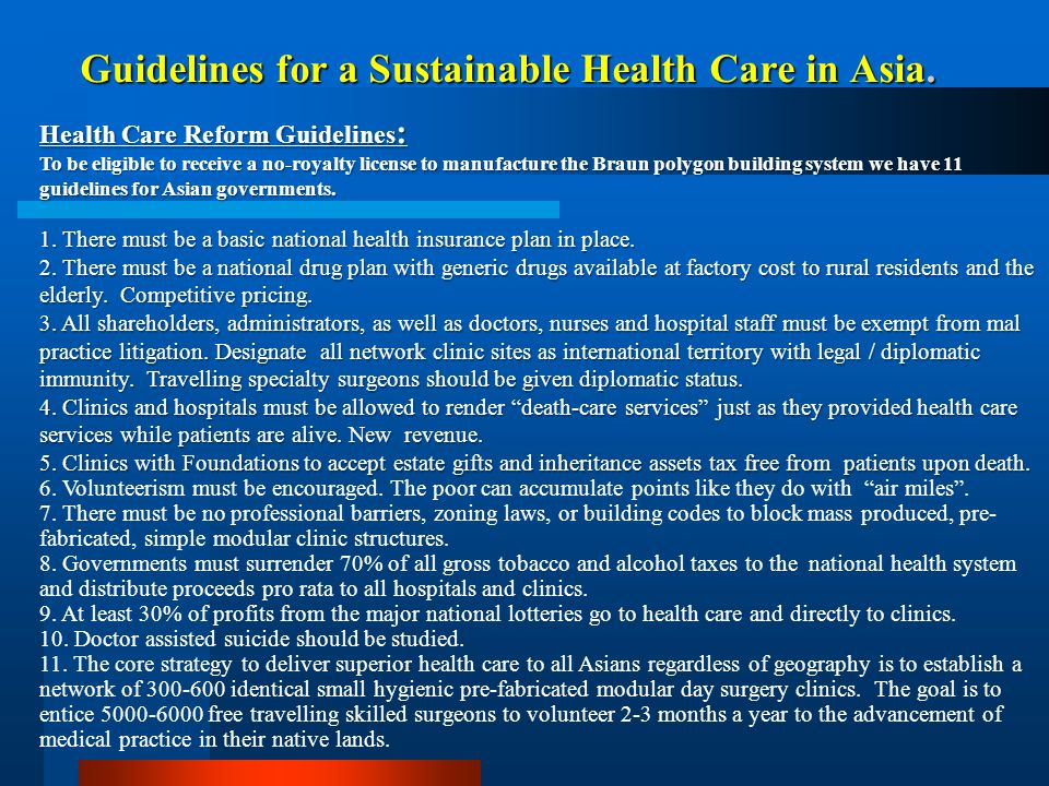 Guidelines for a Sustainable Health Care in Asia.