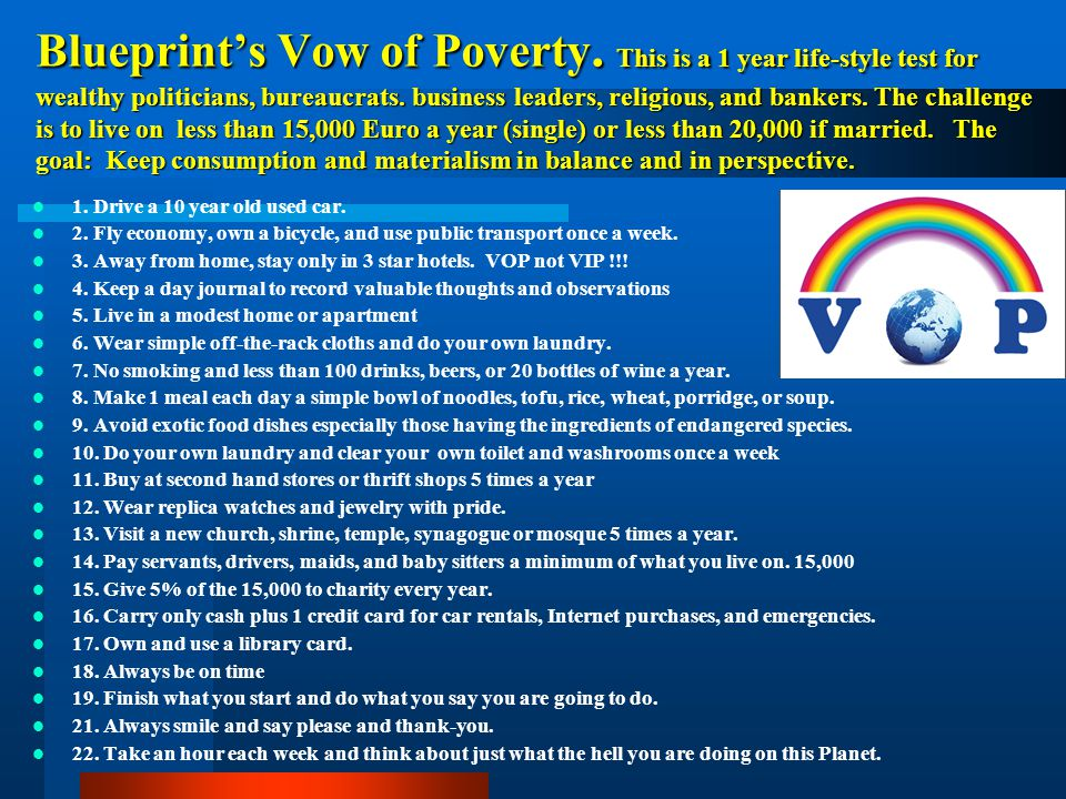 Blueprint's Vow of Poverty
