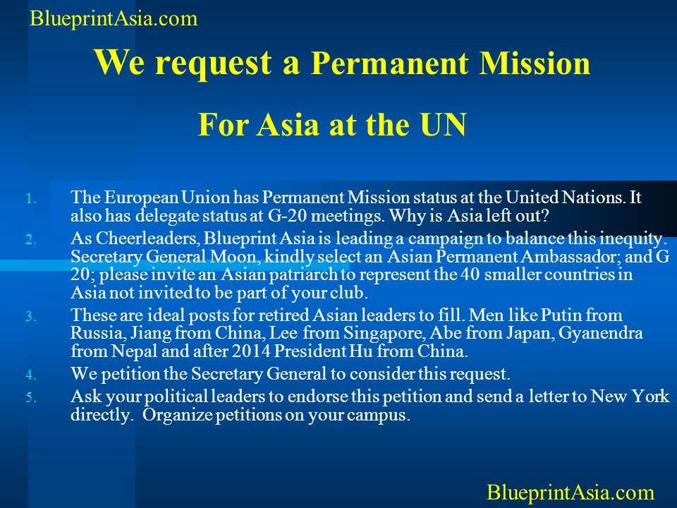 We request a Permanent Mission