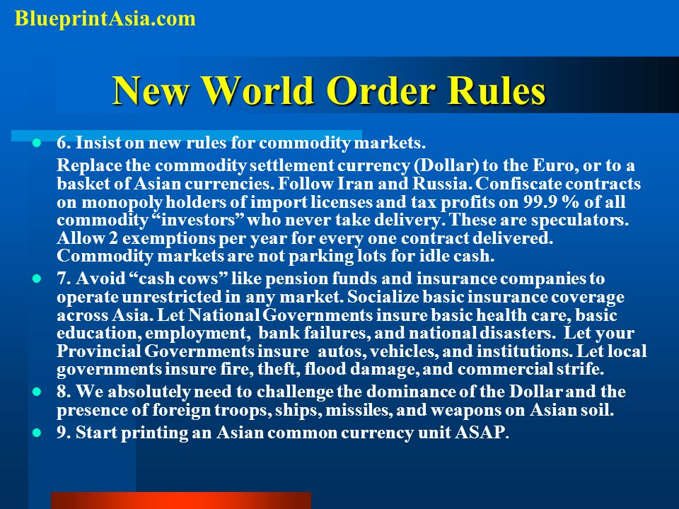 New World Order Rules BlueprintAsia.com