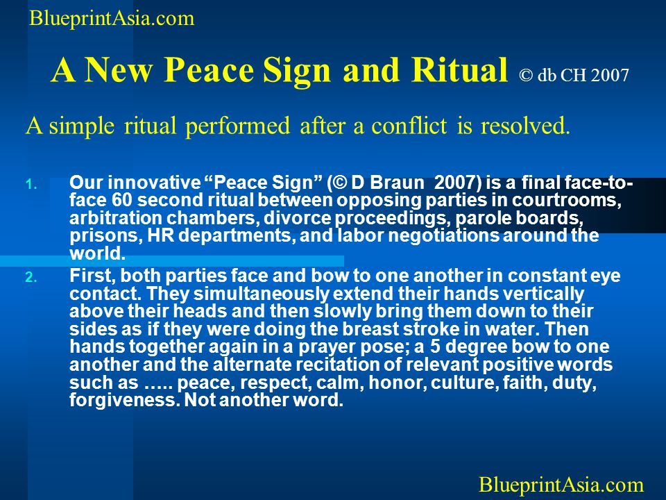 A New Peace Sign and Ritual © db CH 2007
