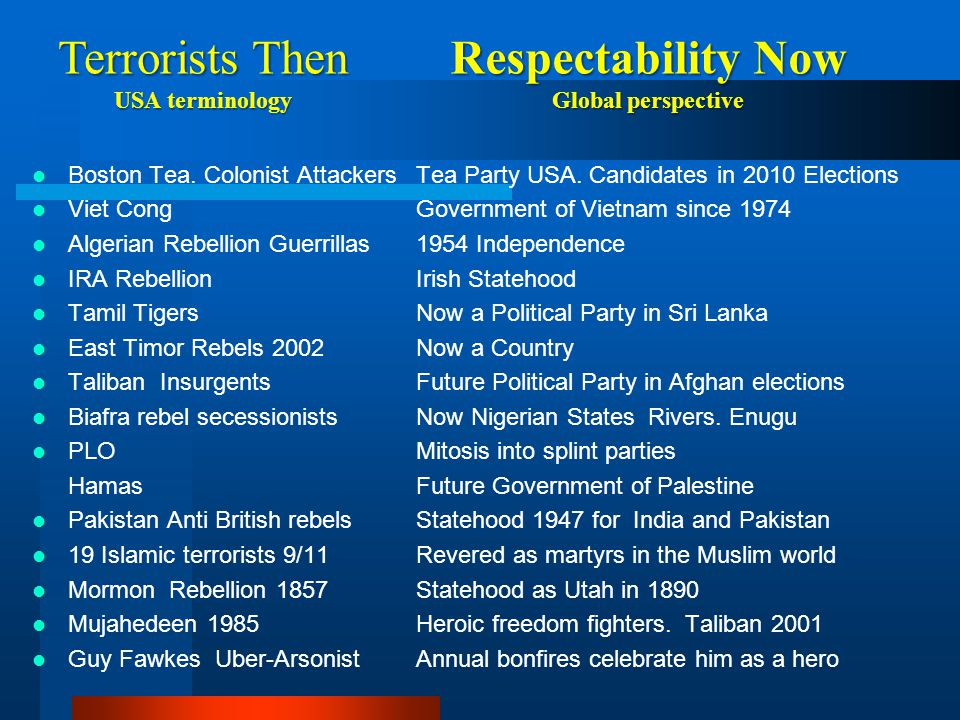 Terrorists Then Respectability Now USA terminology Global perspective