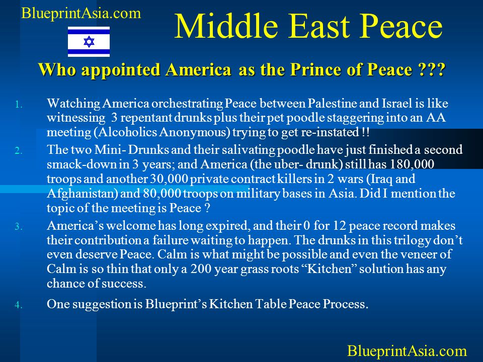 Middle East Peace Who appointed America as the Prince of Peace