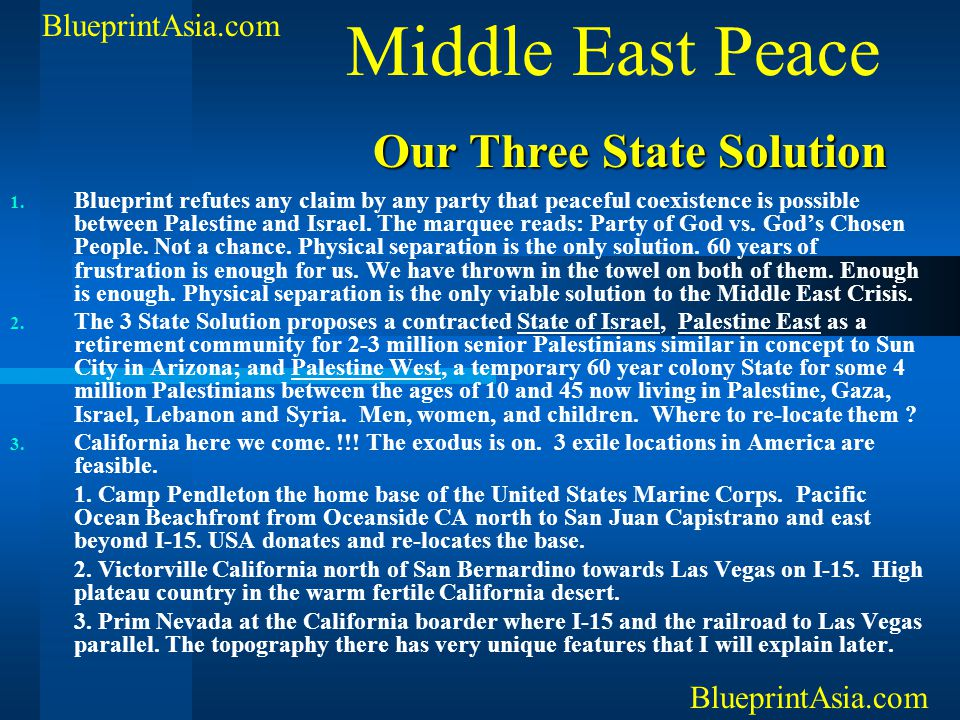 Middle East Peace Our Three State Solution BlueprintAsia.com