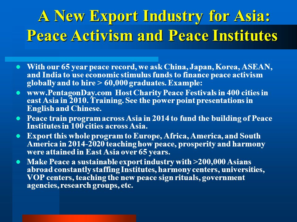 A New Export Industry for Asia: Peace Activism and Peace Institutes